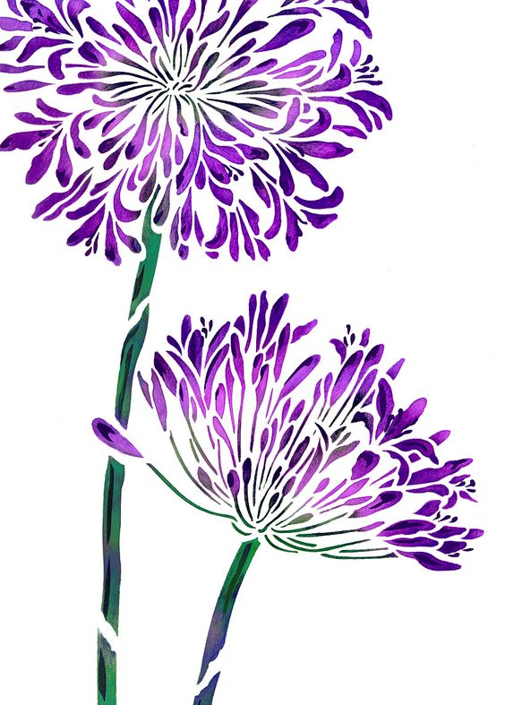 Agapanthus Flower Stencil in striking purple.
