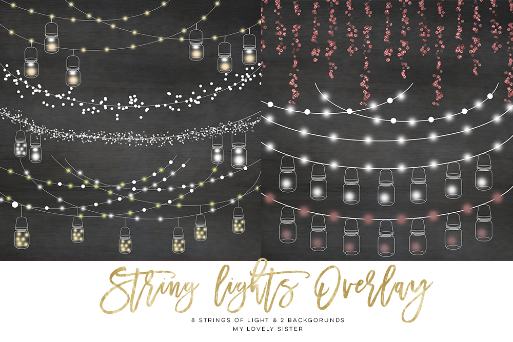String Lights Clipart, Mason jar Chalkboard Party Lights.