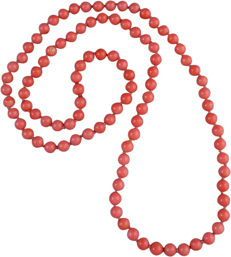 Long Pink Coral Bead Necklace 33\