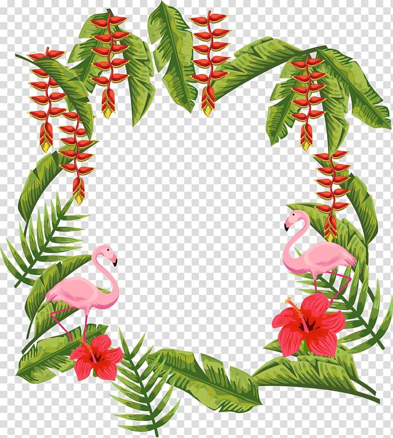 Computer file, Banana leaf string red border, pink flamingo.