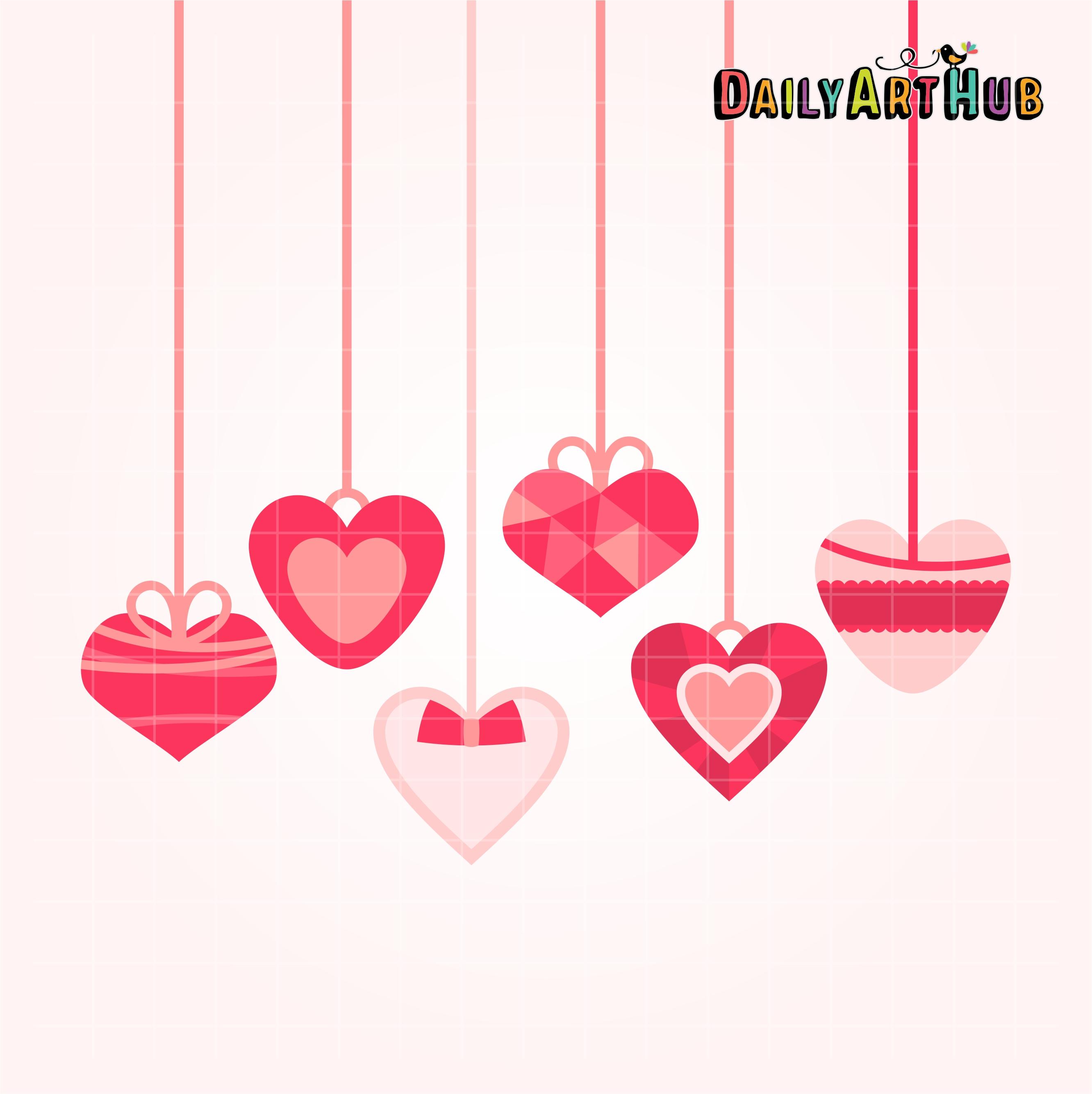 Hearts On String Clip Art Set.