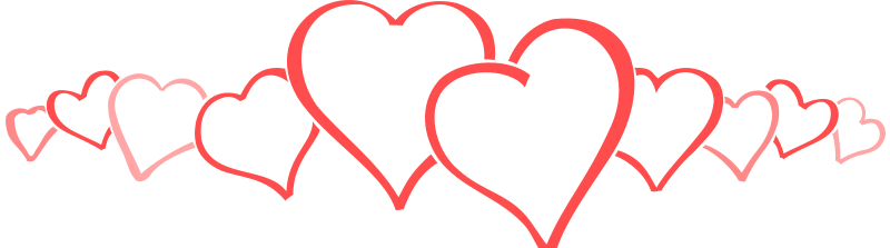 Row of hearts clipart.