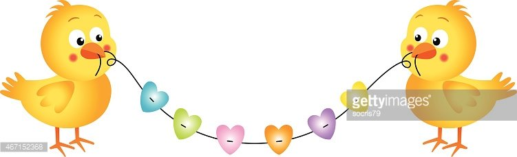 Couple chicks holding a piece of string with hearts Clipart.
