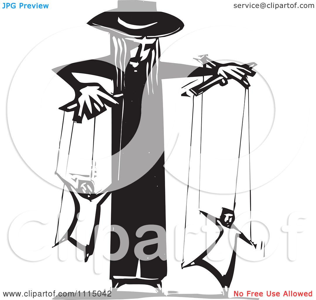 Clipart Priest Controlling People On Puppet Strings Black And.