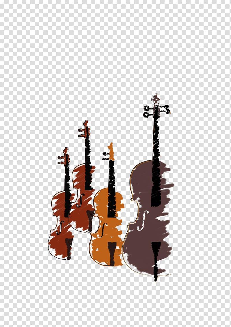 Four violins illustration, String Instruments Violin Musical.