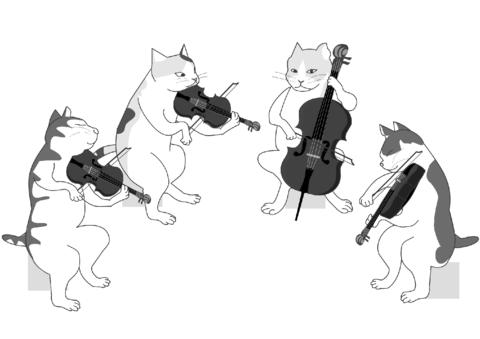 Cats String Quartet coloring page.