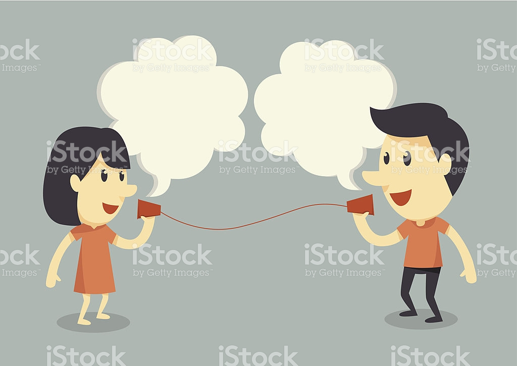A Cute Cartoon Couple Talk On A Cups And String Telephone stock.