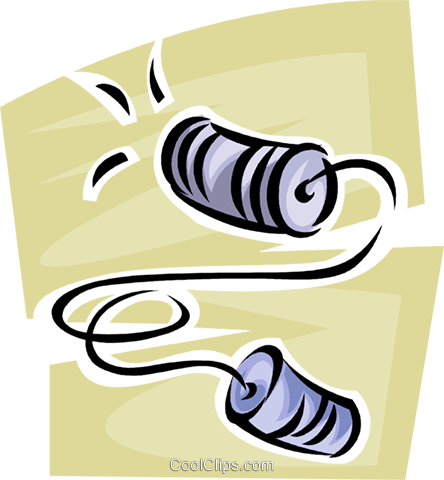cup and string telephone Royalty Free Vector Clip Art illustration.