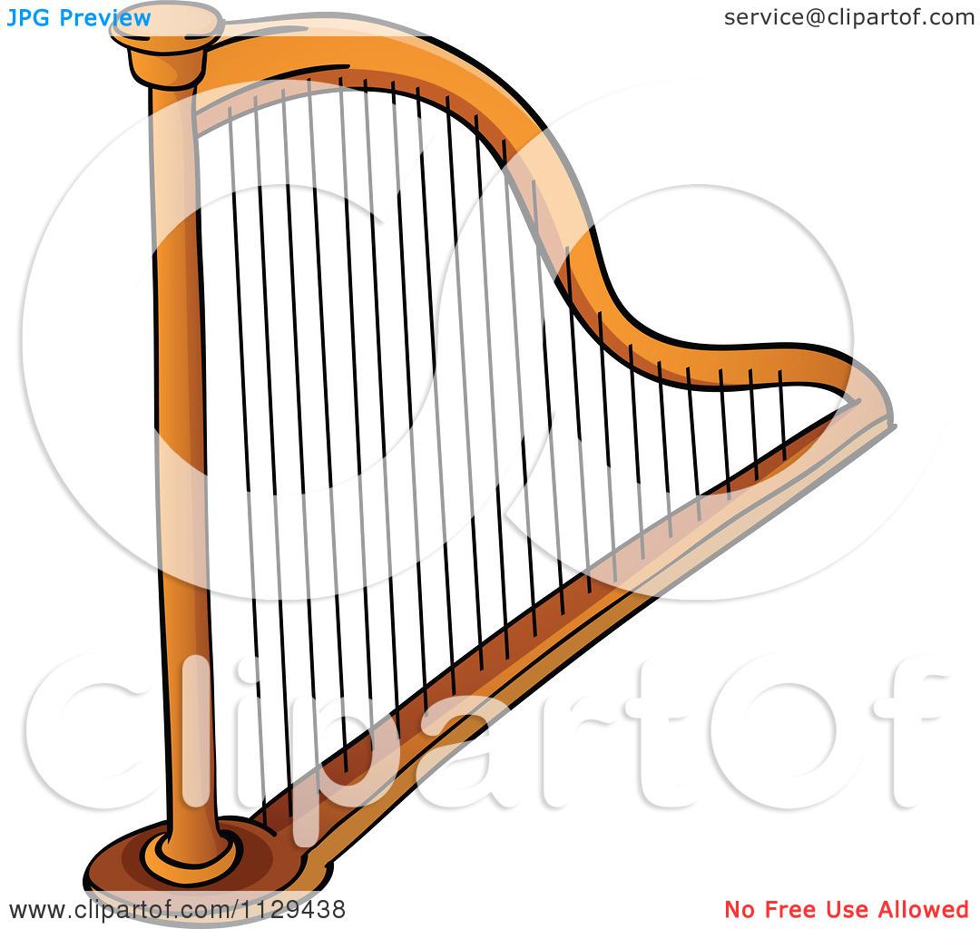 Cartoon Of A Stringed Harp Instrument.
