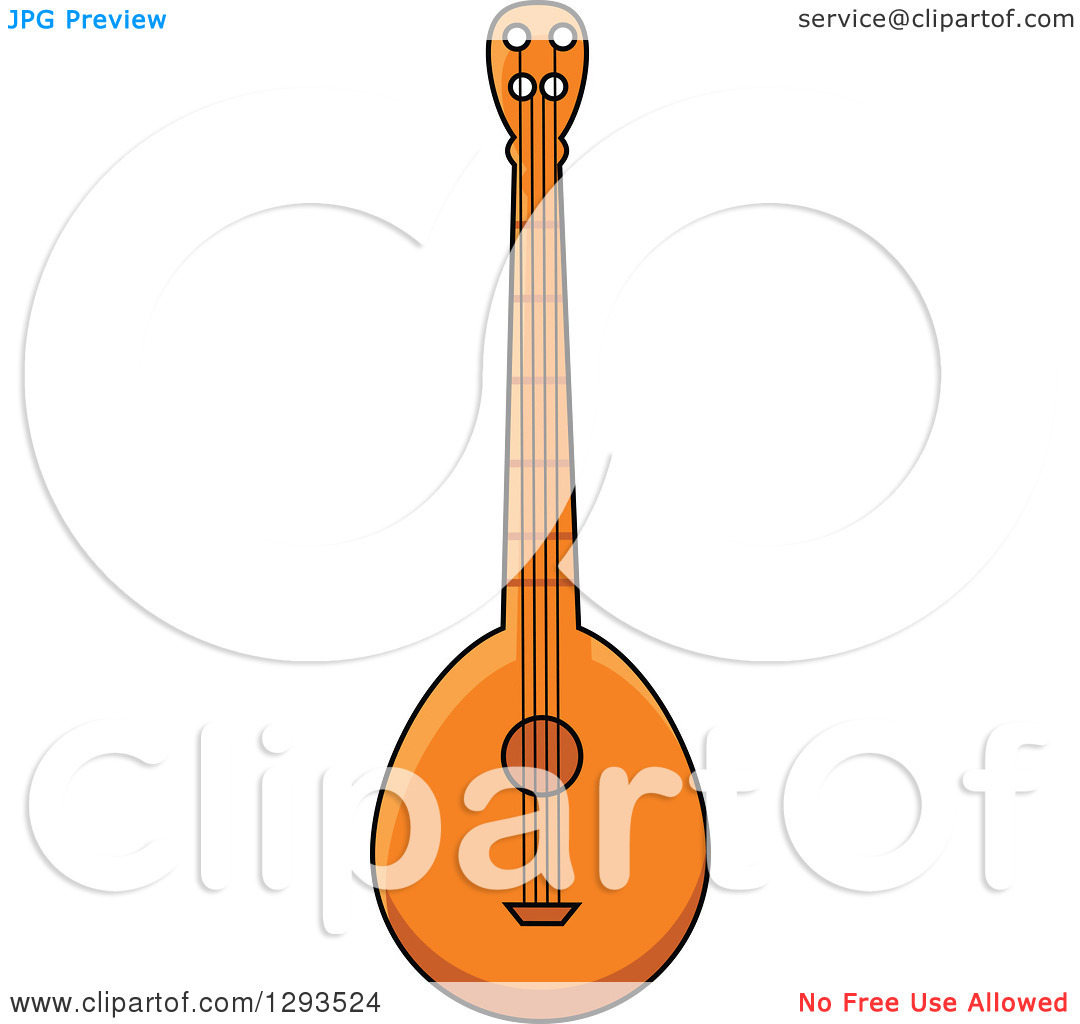 Clipart of a Cartoon Domra Stringed Instrument.
