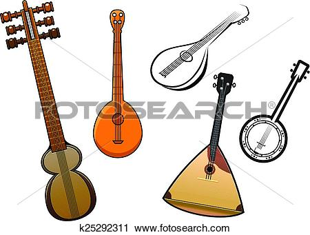 Clipart of Folk stringed musical instruments design elements.