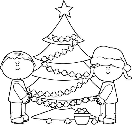 Black and White Kids Stringing Popcorn Clip Art.