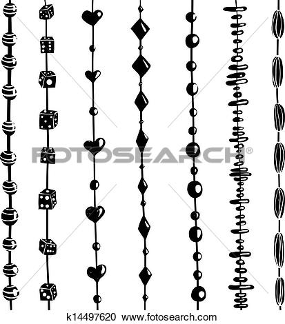 Clipart of String of Beads Set Black and White Illustration.