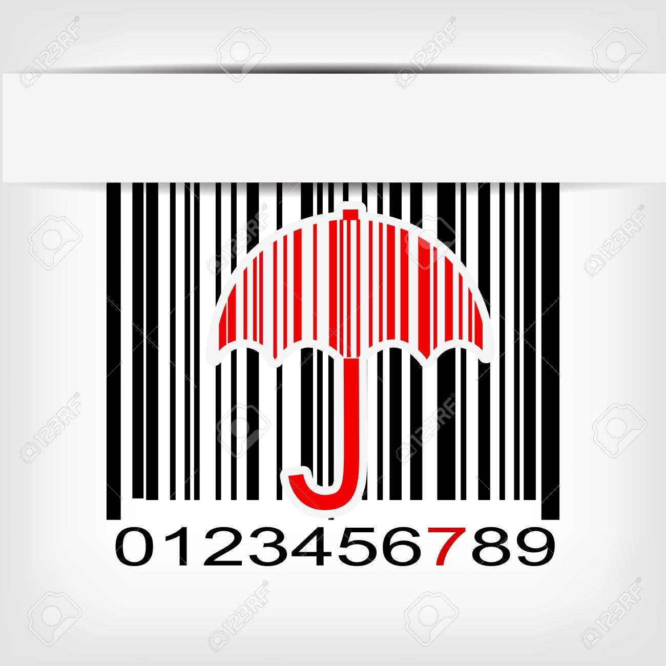 Bar Code Image With Red Strip Illustration Royalty Free Cliparts.