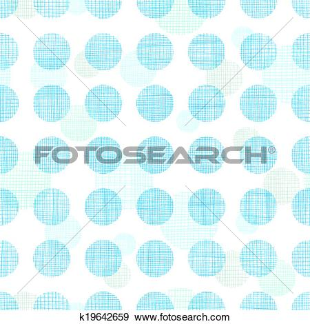 Clip Art of Abstract textile blue polka dots stripes seamless.