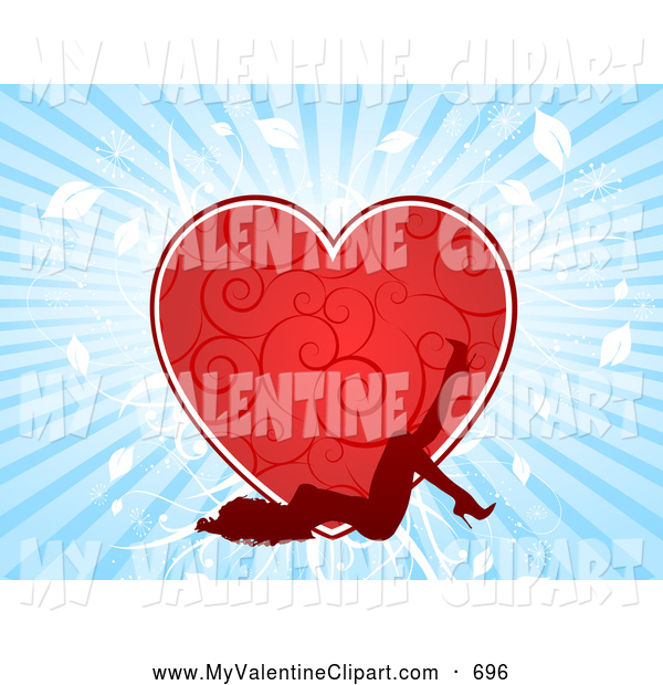 Valentine Clipart of a Sexy Red Silhouetted Woman Laying on Her.