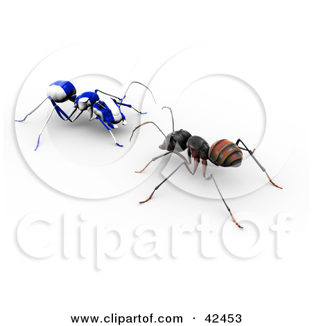 Clipart Illustration of a Red Ant With A Blue Racing Stripe.