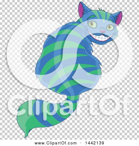 Clipart of a Grinning Striped Blue and Green Cheshire Cat Looking.