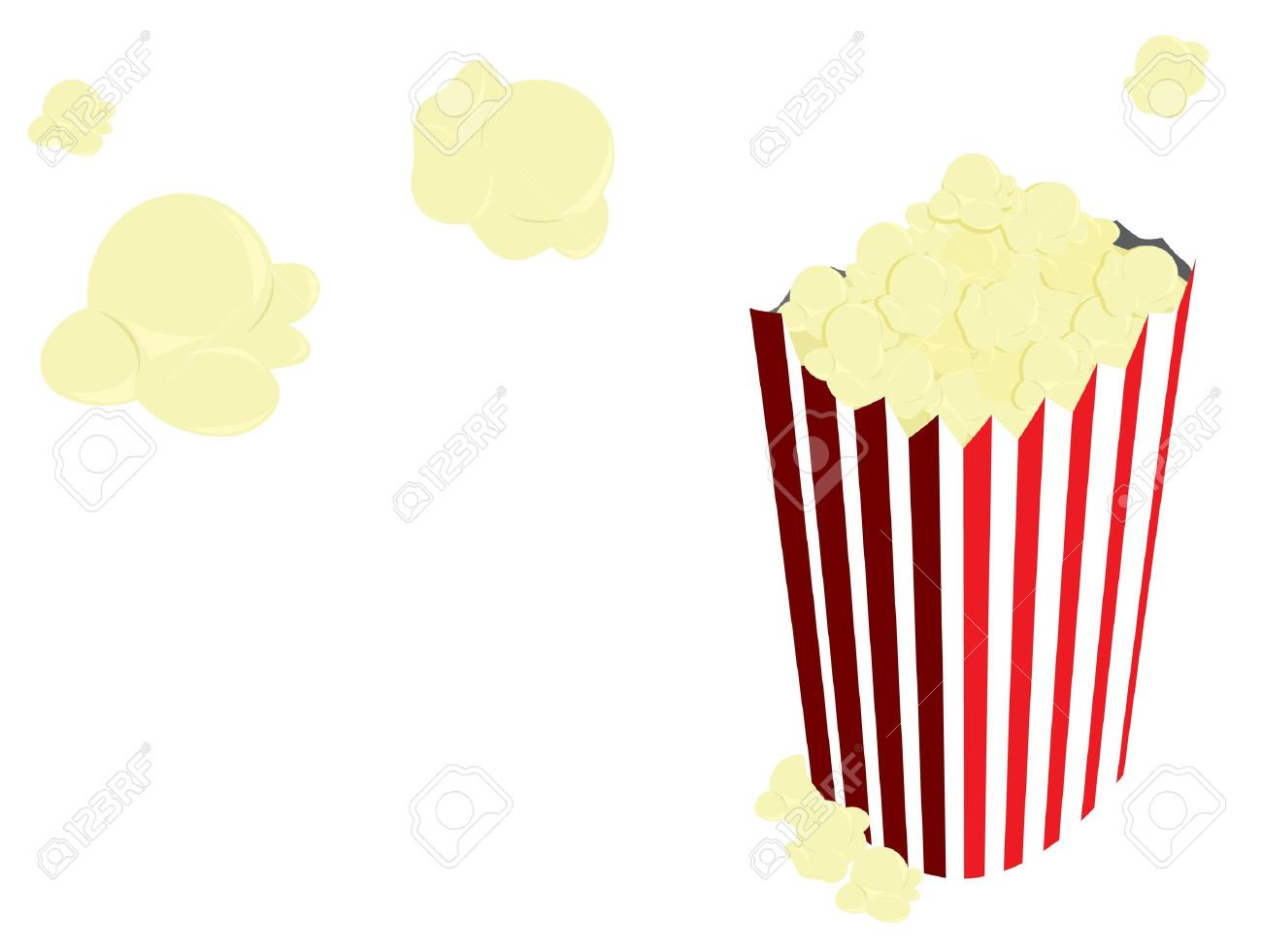 Popcorn In Red And White Striped Back And Flying Out Of It On.
