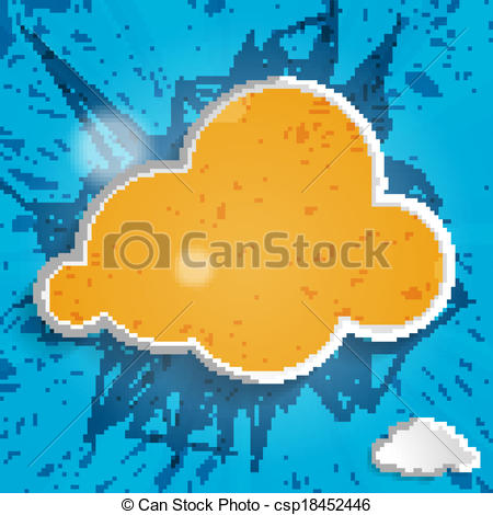 EPS Vector of orange cloud on a blue striped background.