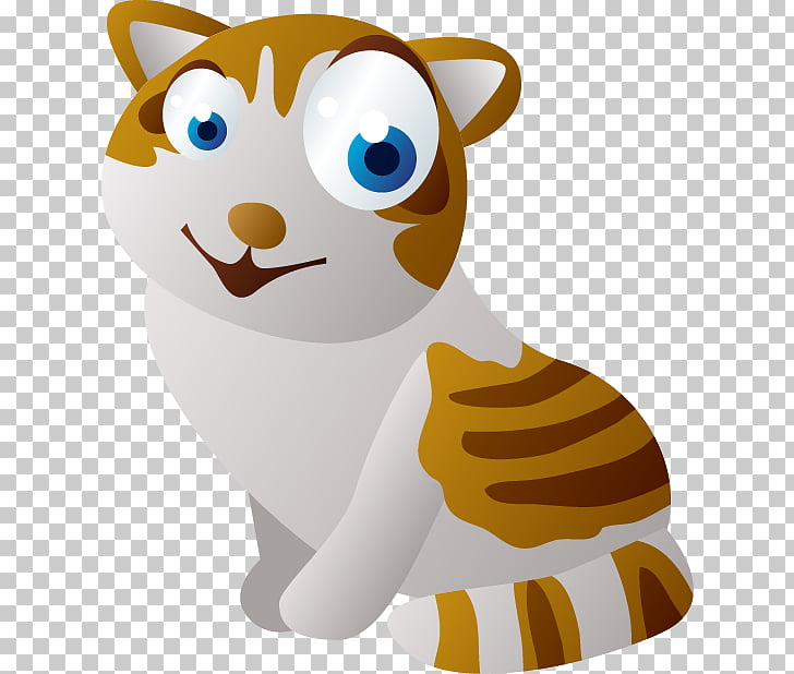 Cat Cartoon Sticker Animation, Big eyes yellow striped.