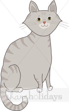 Gray Tabby Cat Clipart.
