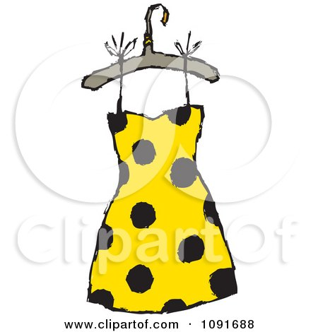Clipart Blue Diagonal Striped Dress On A Hanger.
