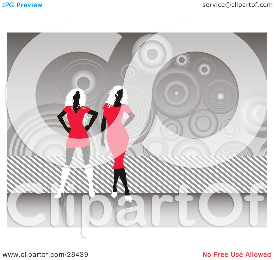 Clipart Illustration of Two Black Faceless Women In Red Dresses.