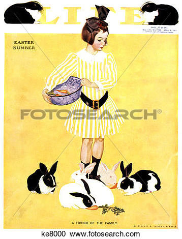 Stock Photography of 1911 Cover Life Magazine Easter Issue Girl In.
