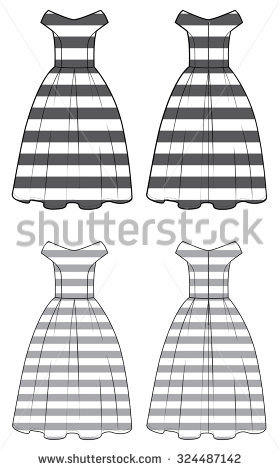 Vintage Striped Dress Black And White Sketch Stock Vector.