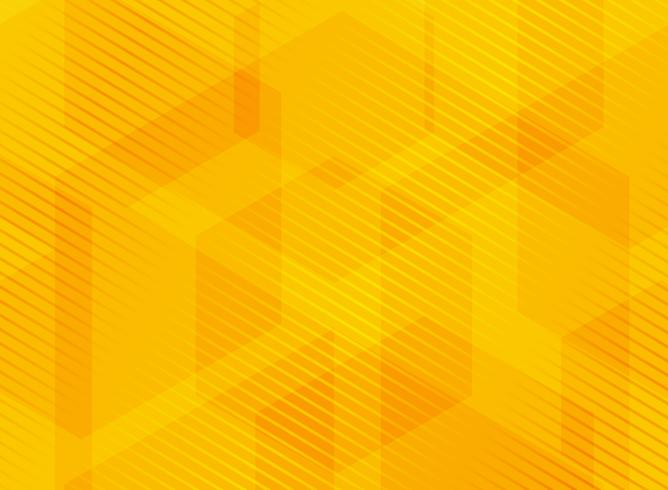 Abstract geometric hexagons yellow background with striped.