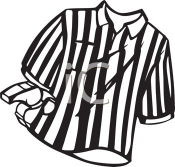Black and White Striped Referee Shirt and Whistle.