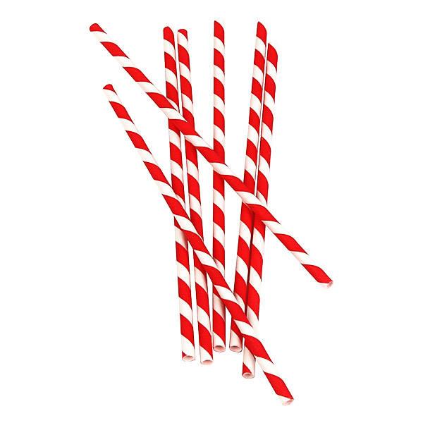 Red Stripe Paper Straw.