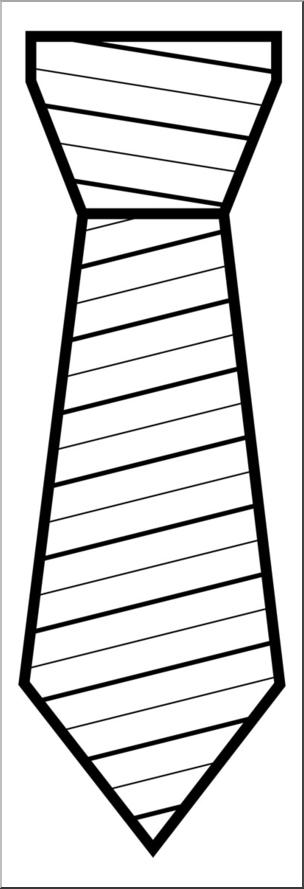 Clip Art: Tie with Stripes B&W I abcteach.com.