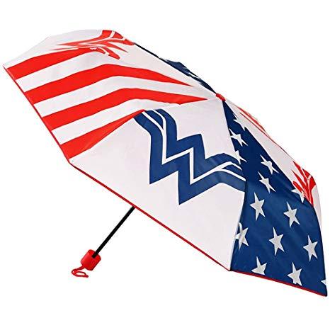 DC Comics Wonder Woman Stars and Stripes Logo Panel Compact Folding Umbrella.
