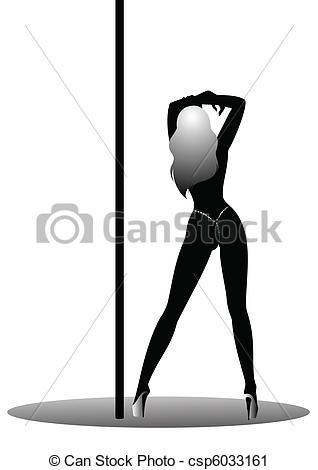 Vector Clip Art of women dancing a striptease.