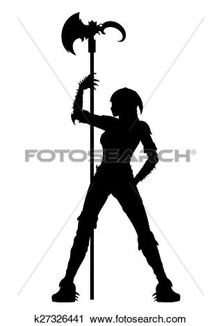 Clipart of Executioner woman strip silhouette k27326441.