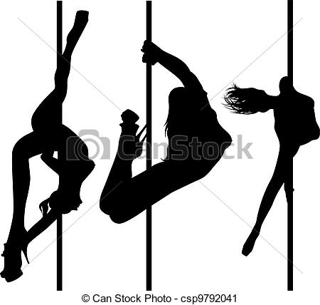Clipart of set of black silhouettes of dancing girls striptease.