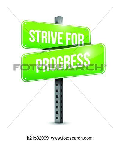 Clip Art of strive for progress sign illustration design k21502099.