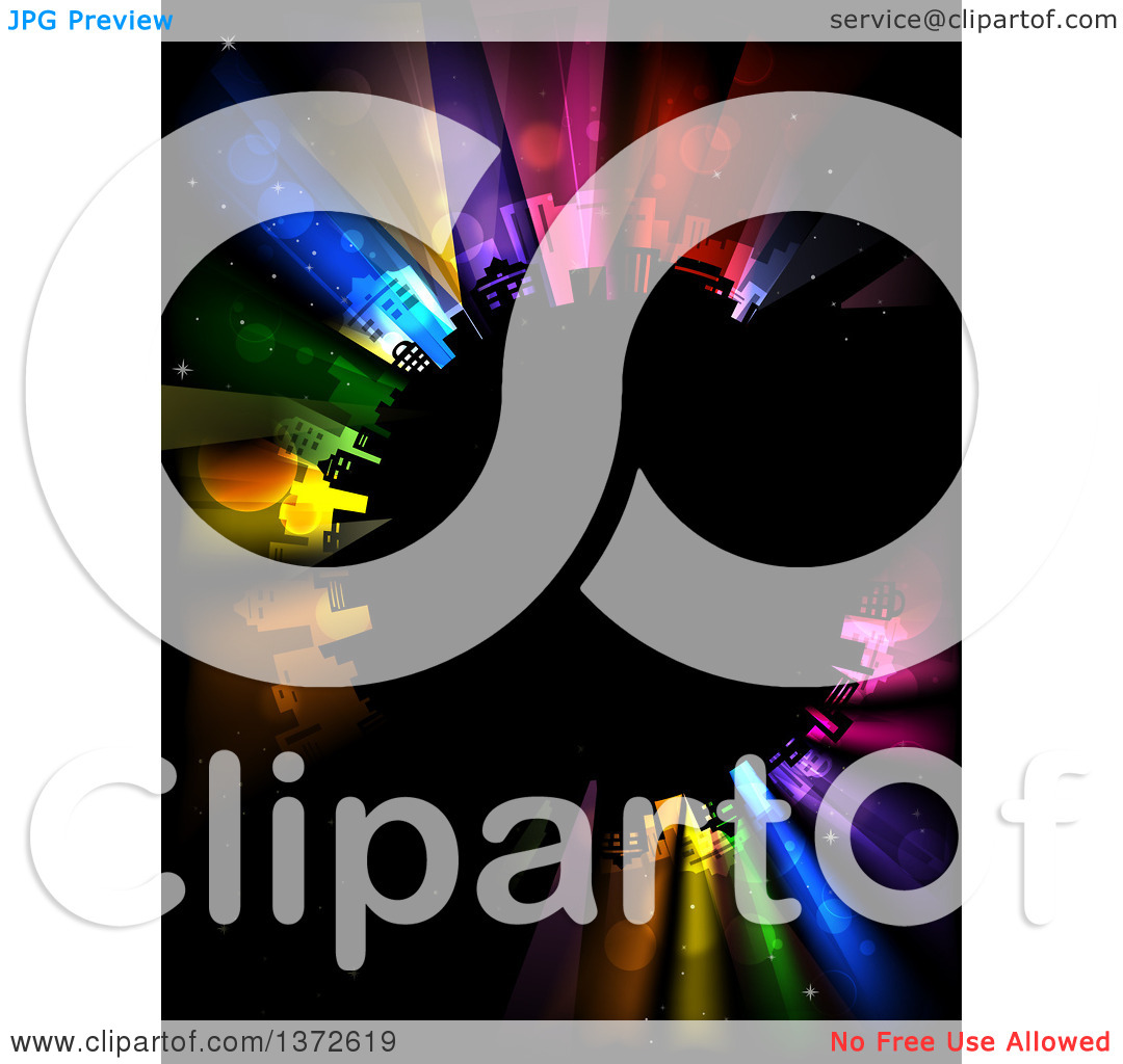 Clipart of a Planet with City Buildings and Colorful Strobe Lights.