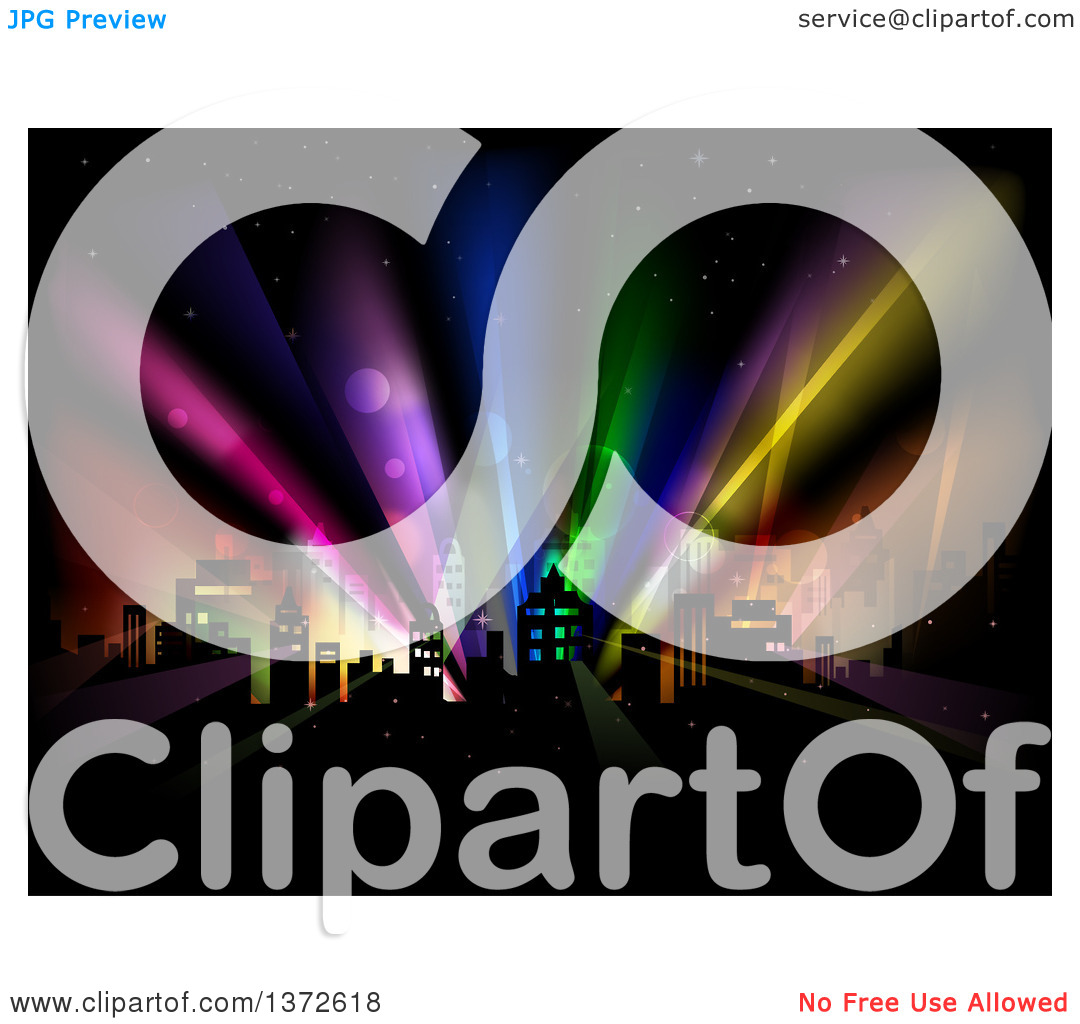 Clipart of a City with Colorful Strobe Lights.