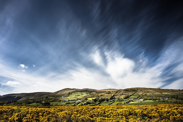 Free photo Landscape Broom Clouds Sky Tourmakeady Ireland.