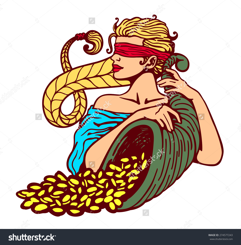 Blindfolded Goddess Fortune Holding Cornucopia Horn Stock Vector.
