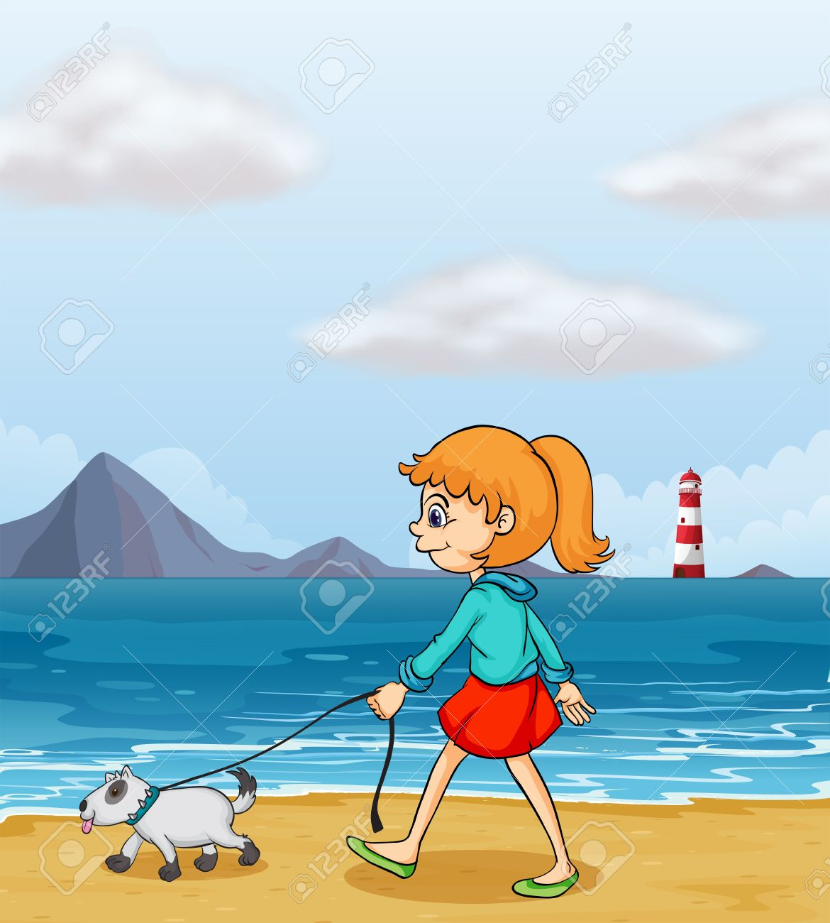 Girl strolling clipart.