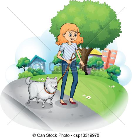 Vectors Illustration of A lady strolling with her dog.