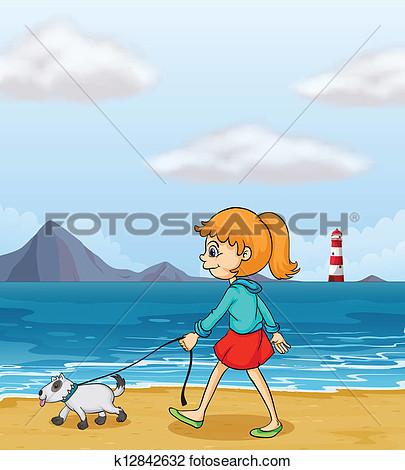 Girl strolling clipart.