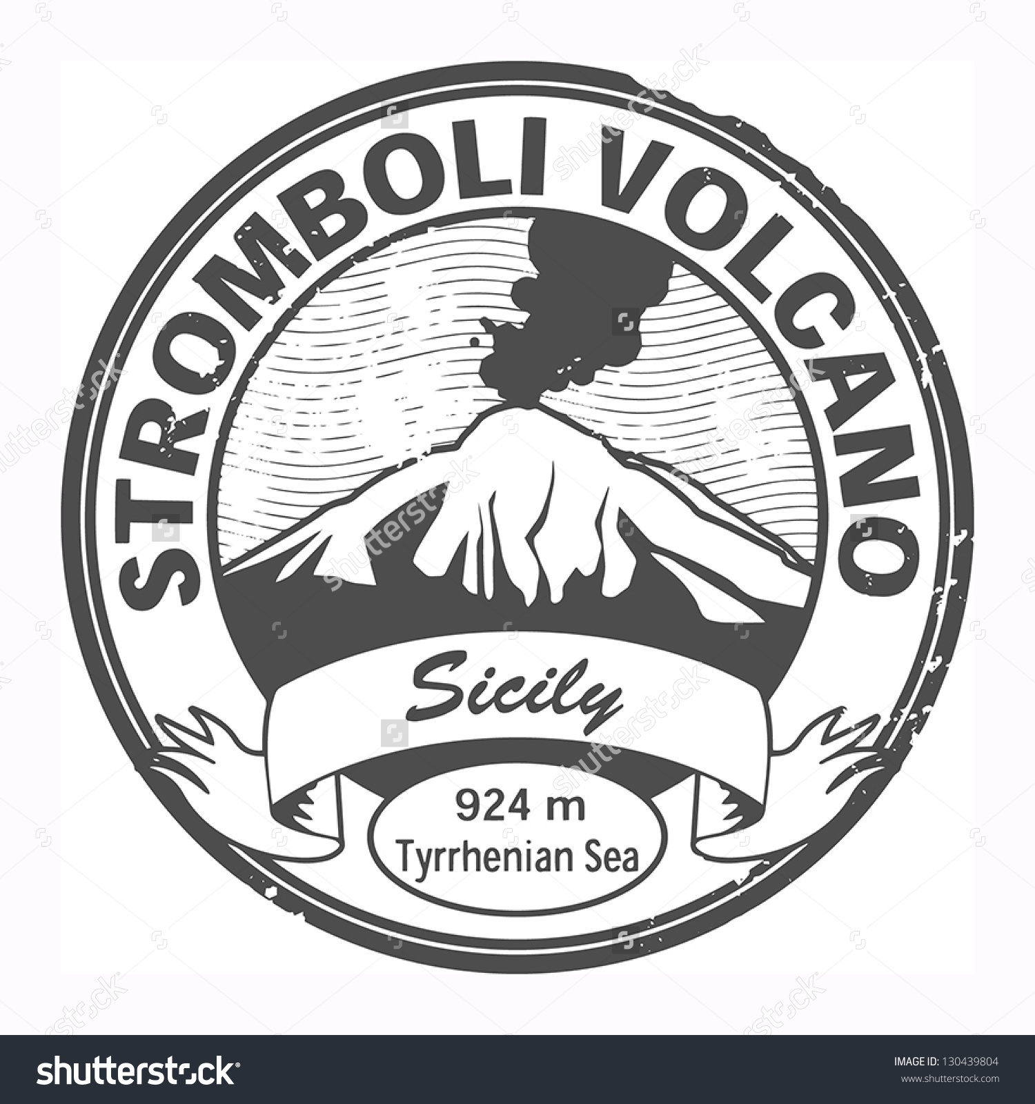 Grunge Black Stamp With Words Stromboli Volcano, Sicily, Vector.