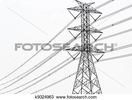 Stock Photo of High voltage power pole on white background.