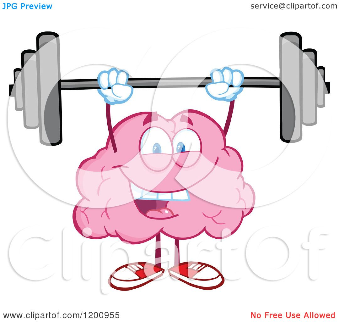 Cartoon of a Strong Pink Brain Mascot Lifting a Barbell.