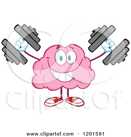 Cartoon of a Pink Brain Mascot Holding and Pointing to a Sign.